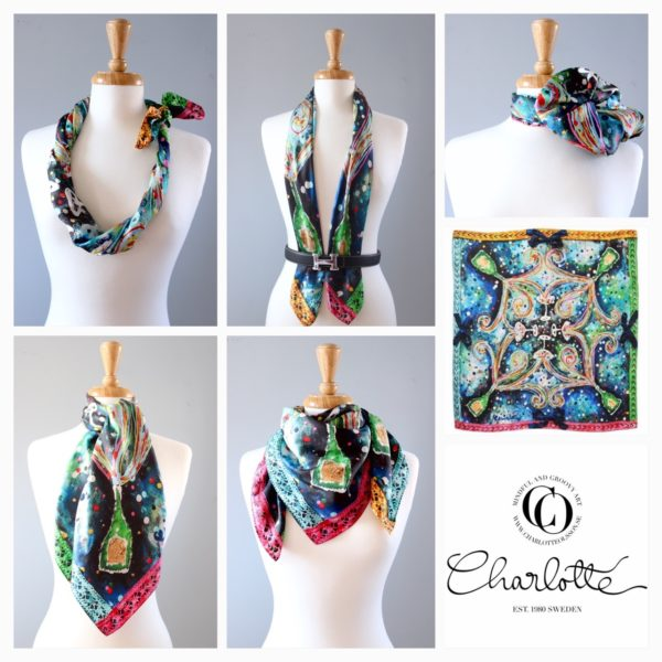 charlotte_olsson_art_design_pattern_swedishart_champagne_recyclingart_silk_exclusive_original_siden_scarf_exclusivesilk_style_fashion